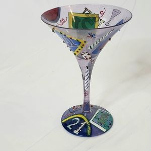 Lolita 21st Gift Celebration Painted Martini Glass